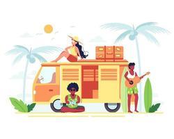 Family holiday on passenger van at the seaside resort vector