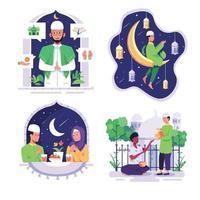 bundle Muslim people in cartoon character vector