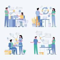 Vector flat illustration finance brainstorming meeting of business concept design