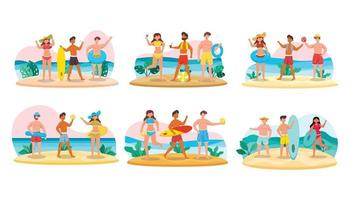Bundle of man character 6 sets, 18 poses of female in swimming suit with gear on the beach vector