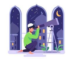 un niño islámico mira las constelaciones para ver las constelaciones en ramadán. vector