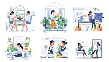 bundle with lifestyle of couple at home cartoon vector