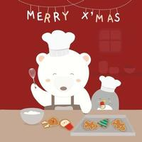 Merry Christmas with a white bear cooking and a penguin as his helper. vector