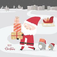 Merry Christmas with Santa Claus holding gift boxes and penguins walking in the snow. vector