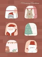 Merry Christmas with pine trees, snowmen, reindeer and snowmen viewed from the window. vector