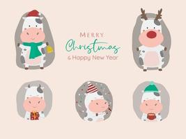 Merry Christmas and happy new year with ox character vector