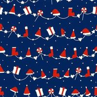 Seamless pattern background with Socks, Christmas hat, candy and Gift box vector