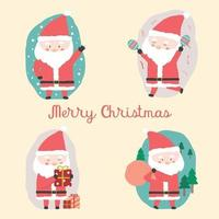 Merry Christmas with  Santa Claus character isolated on white background. vector
