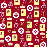Seamless pattern background with Candy boxes, Santa and balls vector