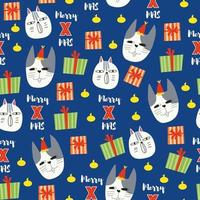 Seamless pattern background with cat face and gift box vector