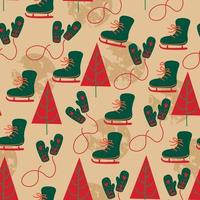 seamless pattern background with ice skate, glove and pine. vector
