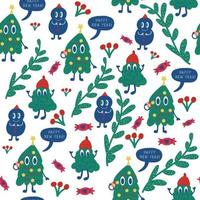 Seamless pattern background with Cartoon, leaves and candy vector