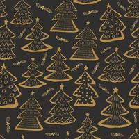Christmas tree yellow, seamless pattern background. vector