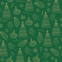 Christmas tree green ana leaves seamless pattern background. vector