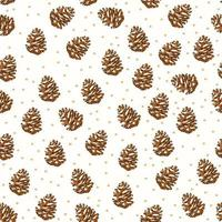 seamless pattern background with Dried pine cones. vector