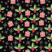 seamless pattern background with Gift box and Pine leaves. vector