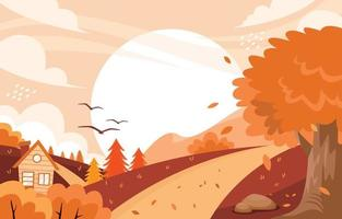 Autumn Background with House and Trees vector