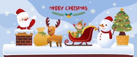 Christmas icon with reindeer santa claus snowball sheep and santa's helper on mountain and snowy background vector