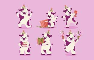 Set of white-purple spotted cow. Animal characters in various gestures vector illustration on pink background.