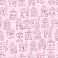seamless pattern background with pink buildings. vector