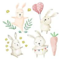 The rabbit family prepares a party at home. vector