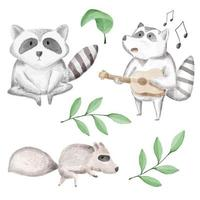 A watercolor set of animals consisting of 2 animal. vector