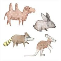 A watercolor set of animals consisting of 4 breeds of animal. vector