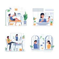 bundle lifestyle people when Stay Home cartoon vector
