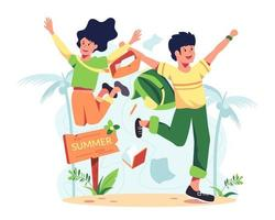 Lover on vacation, going to the sea. They both jumped for joy to come to the sea. vector