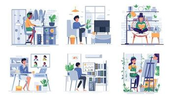 bundle with lifestyle of people at home cartoon vector