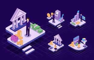 Vector isometic illustration finance business concept design
