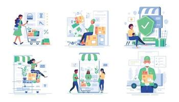 bundle people enjoy shopping in cartoon character vector
