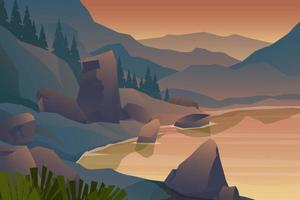 scene nature landscape of lake and mountain vector