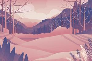 Mountain hill and forest landscape vector