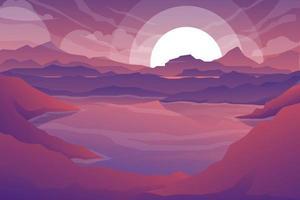 Nature scene in forest and valley with twilight vector