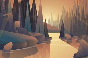 Beautiful Nature Landscape with trees and mountains vector