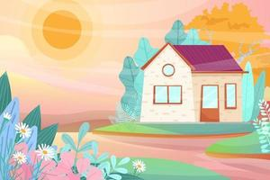 Little house with green lawn and sun light cartoon vector