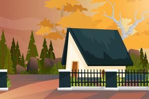 casa con valla y vector de fondo de bosque de naturaleza