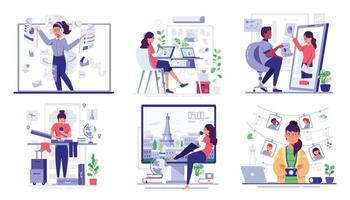 Young worker use internet work at home vector