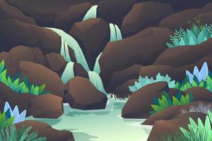 Nature landscape with waterfall from mountain rocks vector