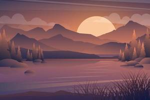 Scenery in the meadow and lake with sunset cartoon vector. vector