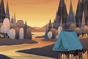 Scene nature forest and Tourist tent camping lanscape vector