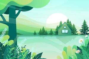 farmhouse with green lawn and sun light cartoon vector