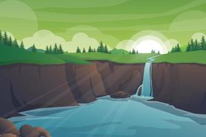 Nature landscape with waterfall from mountain and river vector