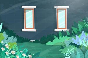 Scene of window on dark green house shines with sunlight vector