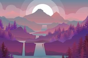 Nuture scene in forest and twilight cartoon vector
