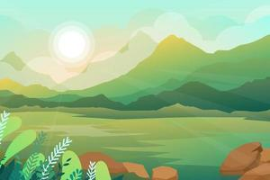 Beautiful scene of nature with sun rising in morning vector