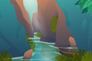 Scene nature streams flow through the gorges vector