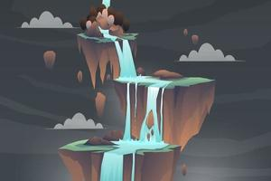 Nature landscape with waterfall from mountain and cliff vector