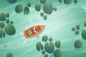 Landscape nature canal and boat cartoon vector